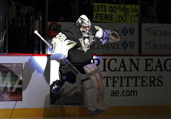 PITTSBURGH, PA - FEBRUARY 2:  Marc-Andre Fleury #29 of the Pittsburgh Penguins jumps onto the ice before the game against the New Jersey Devils at Consol Energy Center on February 2, 2013 in Pittsburgh, Pennsylvania.  (Photo by Justin K. Aller/Getty Image