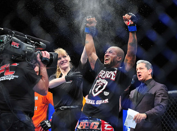 Feb 2, 2013; Las Vegas, NV, USA; Bobby Green  celebrates his TKO victory during UFC 156 at the Mandalay Bay Events Center. Mandatory Credit: Gary A. Vasquez-USA TODAY Sports