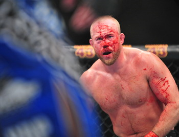 Dec 29, 2012; Las Vegas, NV, USA; Tim Boetsch during his bout against Costa Philippou during UFC 155 at the MGM Grand Garden Arena. Mandatory Credit: Gary A. Vasquez-USA TODAY Sports