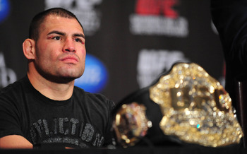 Dec 29, 2012; Las Vegas, NV, USA; Cain Velasquez attends post fight press conference following UFC 155 at the MGM Grand Garden Arena. Mandatory Credit: Gary A. Vasquez-USA TODAY Sports