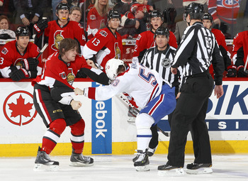 Montreal Canadien Ryan White against Ottawa Senator Zack Smith.