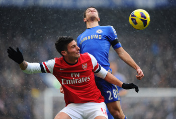 Olivier Giroud shows his strength.
