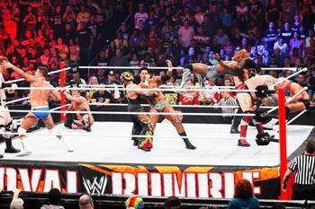 Chaos ensues in the 30-man Royal Rumble match. (Courtesy of WWE.com)