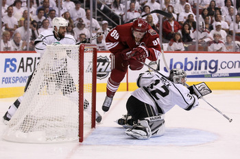 The Phoenix Coyotes Mikkel Boedker goes to the net against the Los Angeles Kings this season.