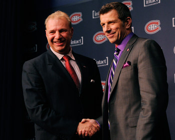 Michel Therrien (left) and Marc Bergevin of the Montreal Canadiens.