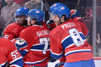 Montreal Canadiens (from left) P.K. Subban, Brendan Gallagher and Brandon Prust.