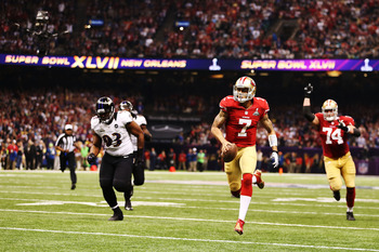 Colin Kaepernick made things interesting with a late touchdown scamper.