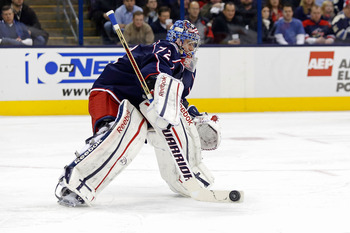 COLUMBUS, OH - JANUARY 21: Sergei Bobrovsky #72 of the Columbus Blue Jackets makes a save during the game against the Detroit Red Wings on January 21, 2013 at Nationwide Arena in Columbus, Ohio. (Photo by Kirk Irwin/Getty Images)