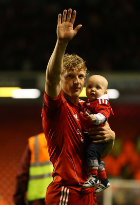 LIVERPOOL, ENGLAND - MAY 08:  Dirk Kuyt of Liverpool waves to the supporters after the Barclays Premier League match between Liverpool and Chelsea at Anfield on May 8, 2012 in Liverpool, England.  (Photo by Alex Livesey/Getty Images)