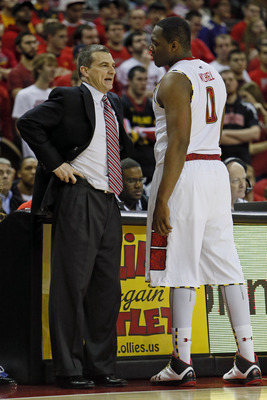 Feb 2, 2013; College Park, MD, USA; Maryland Terrapins head coach Mark Turgeon talks with forward Charles Mitchell (0) during a break against the Wake Forest Demon Deacons at Comcast Center. Mandatory Credit: Mitch Stringer-USA TODAY Sports