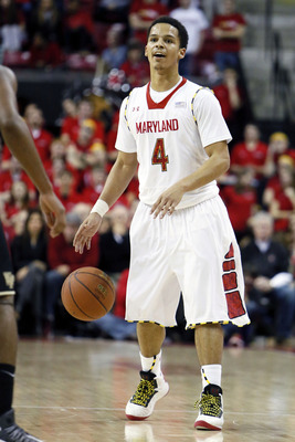 Feb 2, 2013; College Park, MD, USA; Maryland Terrapins guard Seth Allen (4) leads the offense against the Wake Forest Demon Deacons at Comcast Center. Mandatory Credit: Mitch Stringer-USA TODAY Sports