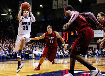 INDIANAPOLIS, IN - JANUARY 26: Rotnei Clarke #15 of the Butler Bulldogs takes the ball to the hoop against the Temple Owls at Hinkle Fieldhouse on January 26, 2013 in Indianapolis, Indiana. (Photo by Michael Hickey/Getty Images)