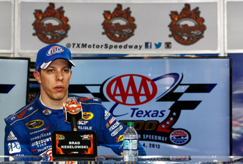 FORT WORTH, TX - NOVEMBER 04:  Brad Keselowski, driver of the #2 Miller Lite Dodge, answers questions from the media during the post race press conference after the NASCAR Sprint Cup Series AAA Texas 500 at Texas Motor Speedway on November 4, 2012 in Fort