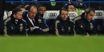 LONDON, ENGLAND - JANUARY 16:  Coach Rafa Benitez of Chelsea writes down some notes during the Barclays Premier League match between Chelsea and Southampton at Stamford Bridge on January 16, 2013 in London, England.  (Photo by Christopher Lee/Getty Images