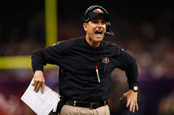 Jim Harbaugh is incensed with the Super Bowl officials.