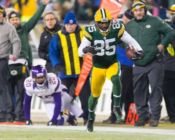 Jan 5, 2013; Green Bay, WI, USA;  Green Bay Packers wide receiver Greg Jennings (85) during the NFC Wild Card playoff game against the Minnesota Vikings at Lambeau Field.  The Packers won 24-10.  Mandatory Credit: Jeff Hanisch-USA TODAY Sports