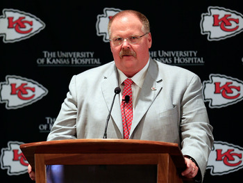 KANSAS CITY, MO - JANUARY 07:  Andy Reid talks to the media during a press conference introducing him as the Kansas City Chiefs new head coach on January 7, 2013 in Kansas City, Missouri.  (Photo by Jamie Squire/Getty Images)