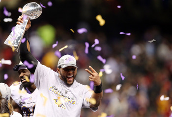Lewis celebrating the Super Bowl win, the final game of his career.