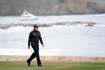 Phil Mickelson strolls down the 18th fairway to a two-shot win at the 2012 AT&T Pro-Am.