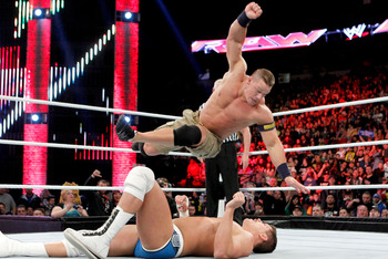 Cena shockingly finishes Cody Rhodes with the five moves of death. Photo Courtesy of WWE.com