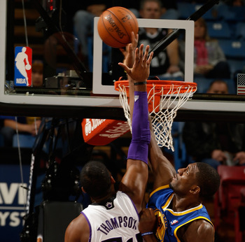 Festus Ezeli defends well, but the Warriors need help in the post on offensive.