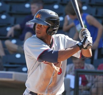 With the trades of Denard Span and Ben Revere, many feel that former first-round pick Aaron Hicks is the front-runner to play center field for the Twins. (Photo courtesy of NoDakTwinsFan.com