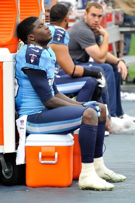 NASHVILLE, TN - DECEMBER 02:  Kendall Wright #13 of the Tennessee Titans looks on from the sideline during a game against the Houston Texans at LP Field on December 2, 2012 in Nashville, Tennessee.  (Photo by Frederick Breedon/Getty Images)