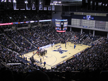 A view from the upper deck of the Cintas Center.