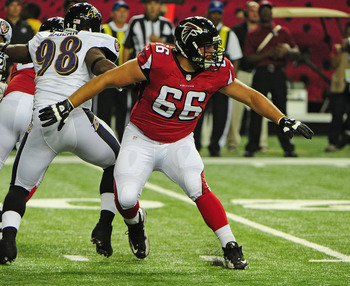 ATLANTA, GA - AUGUST 9: Peter Konz #66 of the Atlanta Falcons blocks against the Baltimore Ravens at the Georgia Dome on August 9, 2012 in Atlanta, Georgia  (Photo by Scott Cunningham/Getty Images)