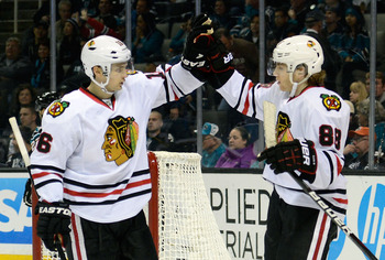 Patrick Kane celebrates after scoring his fifth goal of the season.