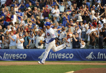 Cubs' Anthony Rizzo rounds first base after hitting a home run against the Pittsburgh Pirates.