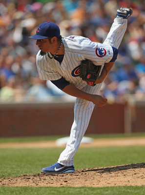 Cubs' pitcher Matt Garza follows through on a pitch against the Arizona Diamondbacks.