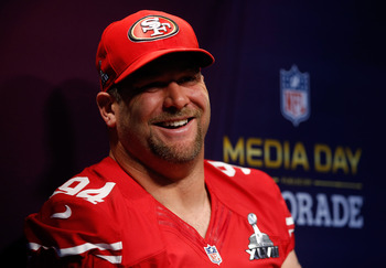 Justin Smith—defensive end for the San Francisco 49ers—speaks at Super Bowl Media Day.