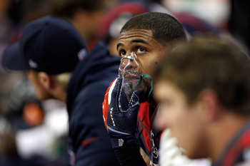 Arian Foster—running back for the Houston Texans—receives supplemental oxygen on the sidelines.