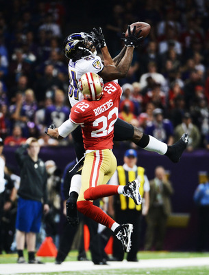 Anquan Boldin leaps to catch a pass during Super Bowl XLVII against San Francisco on February 3, 2013.