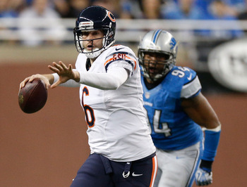 Jay Cutler prepares to throw a pass against the Detroit Lions on December 30, 2012.