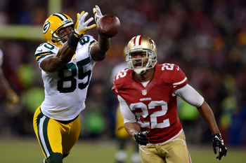 Greg Jennings nearly catches a pass against the San Francisco 49ers in the NFC Divisional playoff game on Jan. 12.
