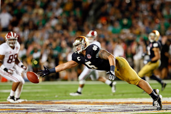 Manti Te'o dives for a ball during the Discover BCS National Championship game against Alabama on Jan. 7.
