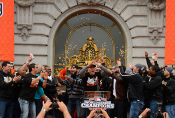 The San Francisco Giants celebrate their 2012 World Series title.