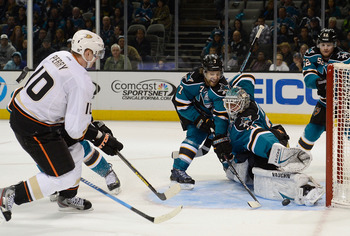 Anaheim's Corey Perry fires a shot on goal against the San Jose Sharks on Jan. 29.