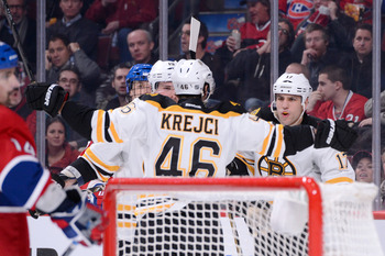 Bruins' David Krejci celebrates a goal against Montreal on Feb. 6.