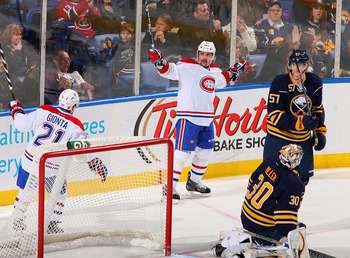 Buffalo's Ryan Miller allows a goal against Montreal on Feb. 7.