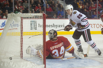 Flame's goalie Miika Kiprusoff allows a goal against the Chicago Blackhawks on Feb. 2.