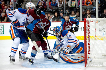 Edmonton's Devan Dubnyk makes a save against Colorado on Feb. 2.