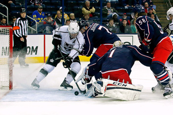 Mike Richards scrambles for a rebound against Columbus on Feb. 5.