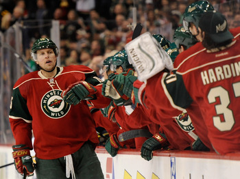 Minnesota's Dany Heatley celebrates with teammates after a goal against Nashville on Jan. 22.