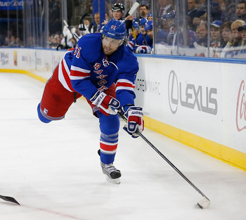 Rangers' Rick Nash prepares for shot against Pittsburgh on Jan. 31.