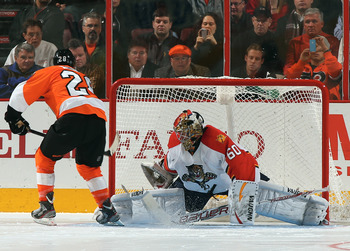 Philadelphia's Claude Giroux fires a shot on goal against Florida on Feb. 7.