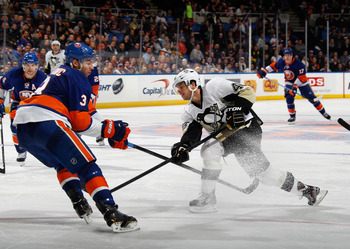 Pittsburgh's Tyler Kennedy fires a shot against the New York Islanders on Feb. 5.