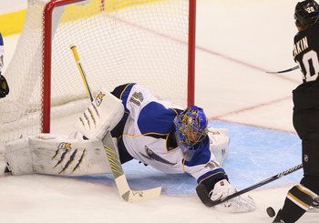 Blues goalie Jaroslav Halak dives for the puck against the Dallas Stars on Jan. 26.